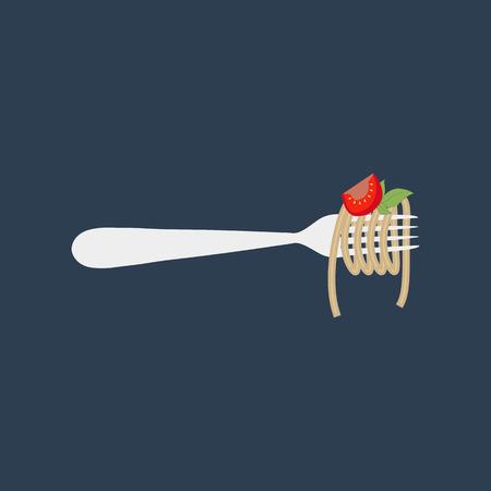 Spaghetti pasta llustration on the blue background. Vector illustration