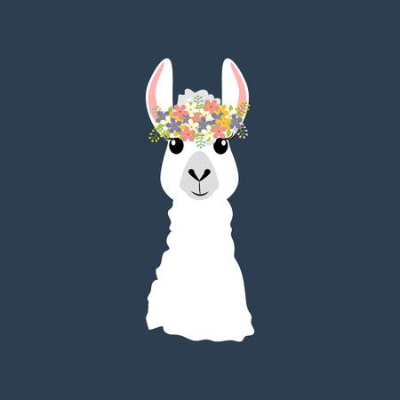 Llama in wreath on the blue background. Vector illustration Illustration