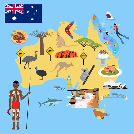 Australia map illustration on the blue background. Vector illustration