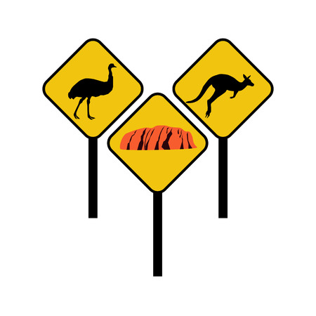 Australia signs on the white background. Vector illustration