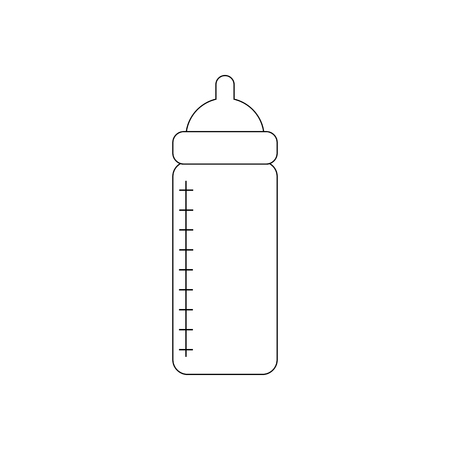 Baby bottle with nutrition on the white background. Vector illustration