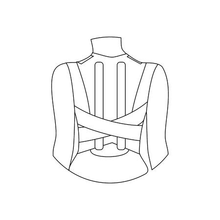 Corsé para corrección de postura sobre fondo blanco. Ilustración vectorial Ilustración de vector
