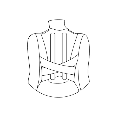 Corset for correction of posture on the white background. Vector illustration