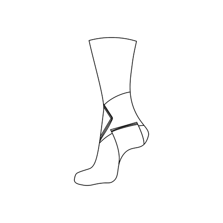 Elastic bandage for the ankle joint on the white background. Vector illustration