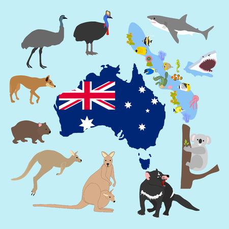 Tiere von Australien auf dem blauen Hintergrund, Vektorillustration