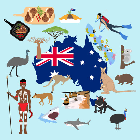 Australia illustration on the blue background, Vector illustration