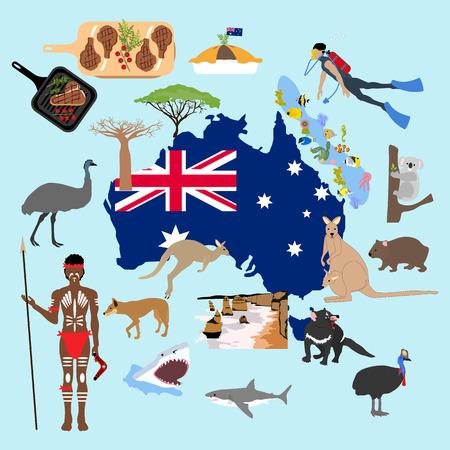 Ilustración de Australia sobre fondo azul, ilustración vectorial