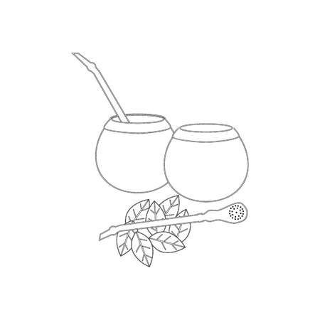 Calabash mate drink on the white background, Vector illustration