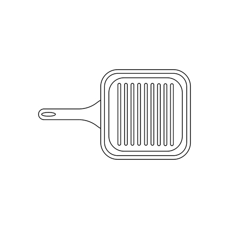 Grill pan coloring pages on the white background, Vector illustration