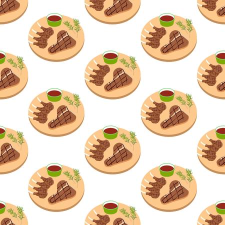 Steak meat on board seamless pattern on the white background, Vector illustration Stock fotó - 104277095