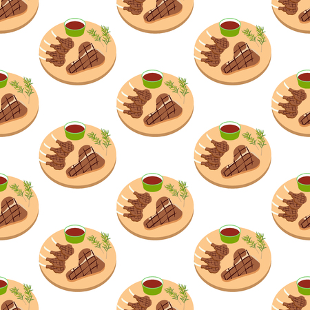 Steak meat on board seamless pattern on the white background, Vector illustration Illustration