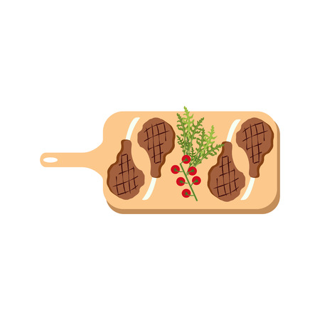 Steak meat on board on the white background, Vector illustration Stock fotó - 115045984