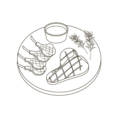 Steak meat coloring pages on the white background, Vector illustration Illustration