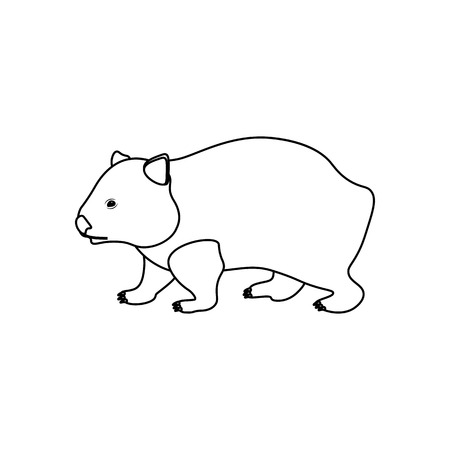 Wombat coloring pages on the white background, Vector illustration