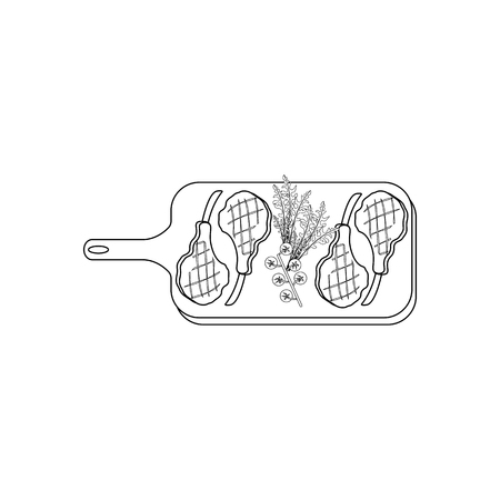 Steak meat on board coloring pages on the white background, Vector illustration