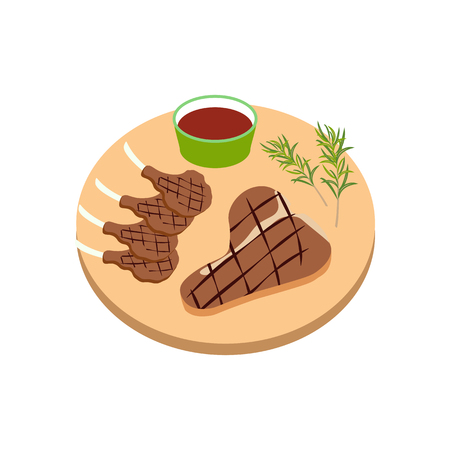 Steak meat on board on the white background, Vector illustration Stock fotó - 115045989