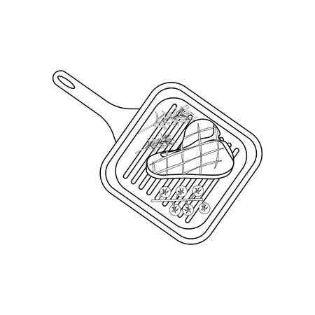 Steak on grill pan coloring pages on the white background, Vector illustration