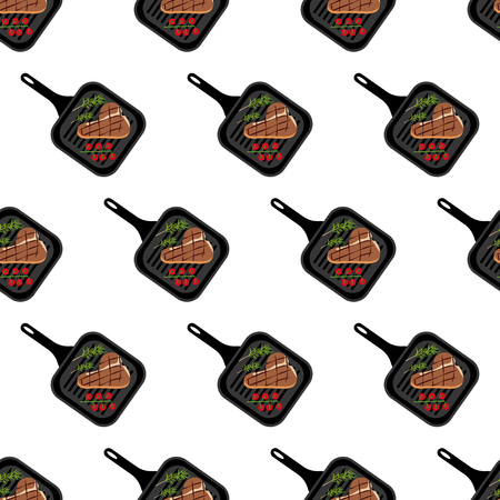 Steak on grill pan seamless pattern on the white background, Vector illustration