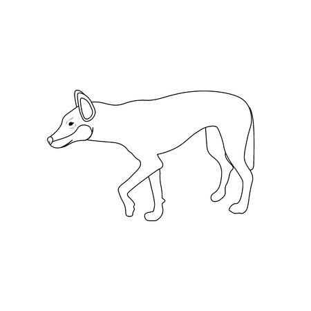 The Australian Dingo coloring pages on the white background, Vector illustration