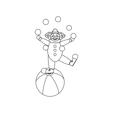 Clown juggler illustration on the white background. Vector illustration Stock Illustratie