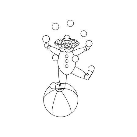 Clown juggler illustration on the white background. Vector illustration Illustration
