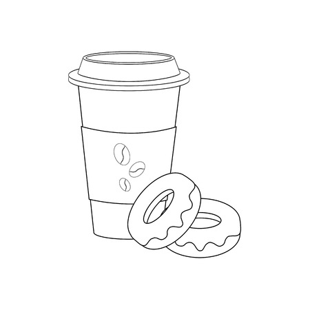 Coffee and donut illustration on the white background. Vector illustration Ilustração