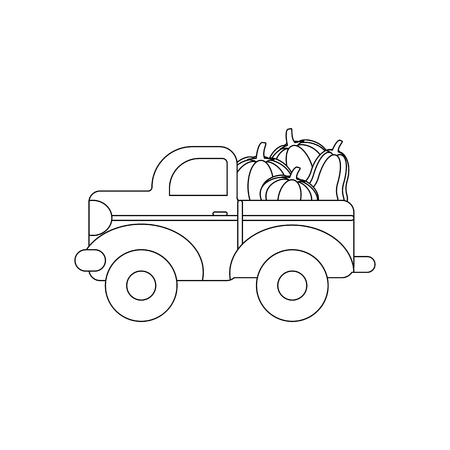 Truck with pumpkins coloring page on the white background. Vector illustration