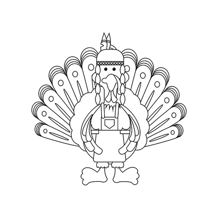 Thanksgiving indian turkey on the white background. Vector illustration