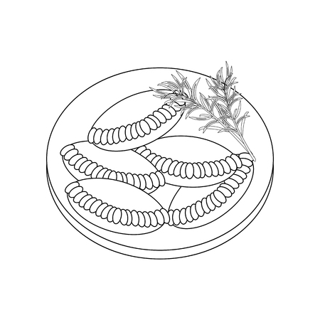 Empanadas coloring page on the white background. Vector illustration