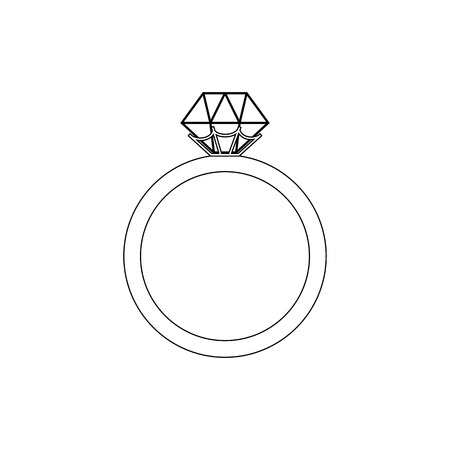 Engagement ring coloring page on the white background. Vector illustration