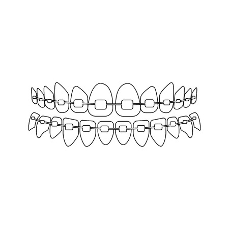 Teeth with braces on the white background. Vector illustration Illustration