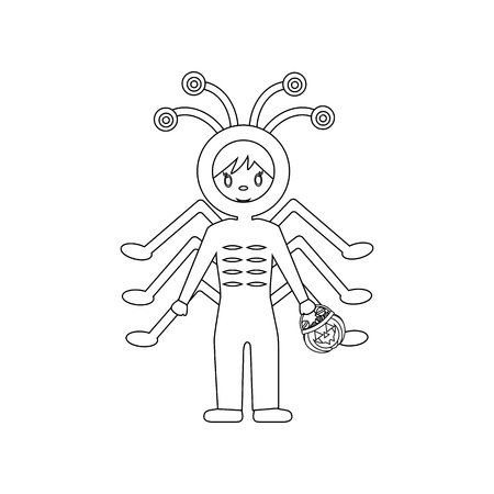 Spider halloween costume on white background. Vector illustration Иллюстрация