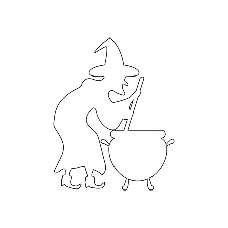 Witch silhouette illustration on white background. Vector illustration