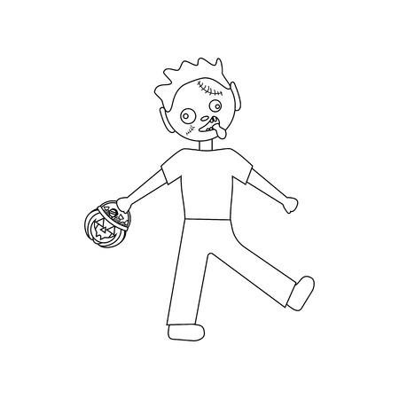 Zombie halloween costume on white background. Vector illustration