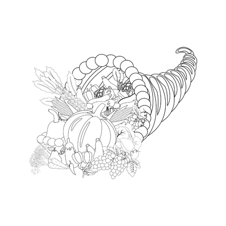 Horn of planty harvest coloring page on the white background. Vector illustration