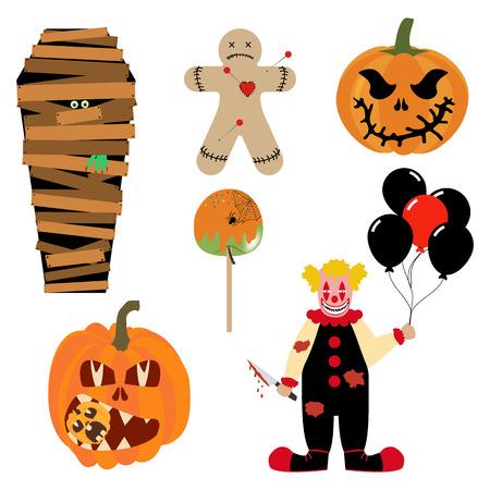Halloween illustrations set on the white background. Vector illustration