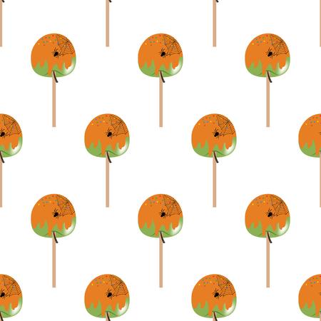 Halloween apple in caramel seamless pattern on the white background. Vector illustration