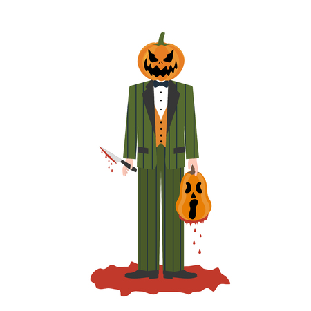 Halloween pumpkin killer on the white background. Vector illustration Vettoriali