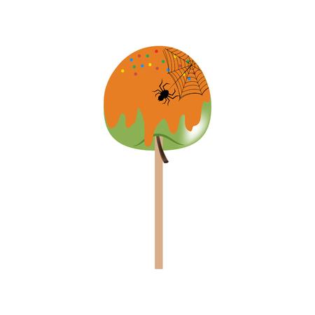 Halloween apple in caramel on the white background. Vector illustration