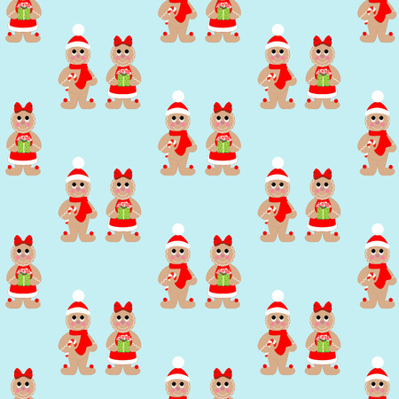 Gingerbread man seamless pattern on the blue background. Vector illustration 일러스트