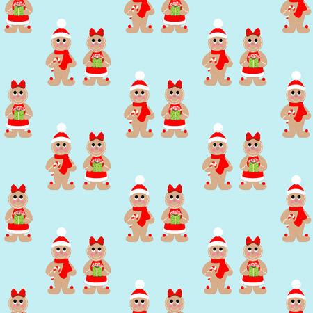 Gingerbread man seamless pattern on the blue background. Vector illustration Illustration