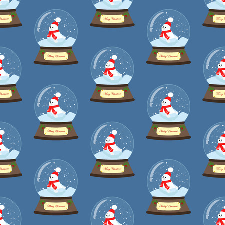 Christmas snow globe seamless pattern on the blue background. Vector illustration