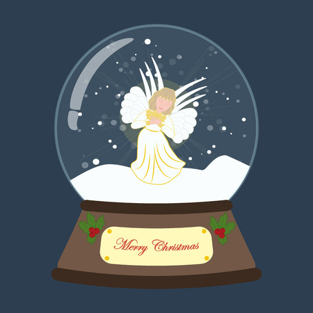 Christmas snow globe with angel on the blue background. Vector illustration