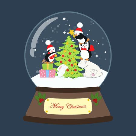 Christmas snow globe on the blue background. Vector illustration