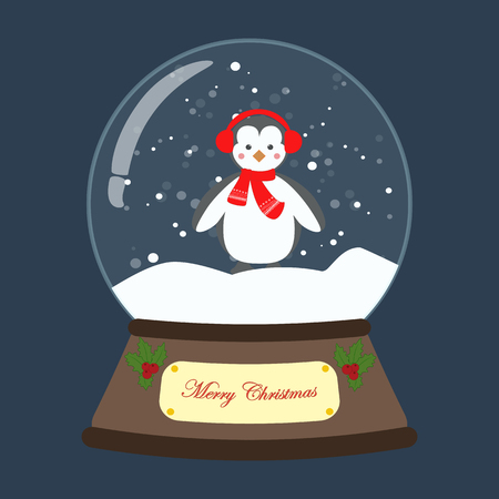 Christmas snow globe with penguin on the blue background. Vector illustration