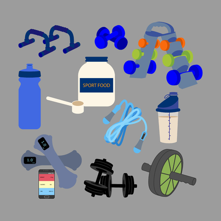 Fitness equipment on the gray background. Vector illustration