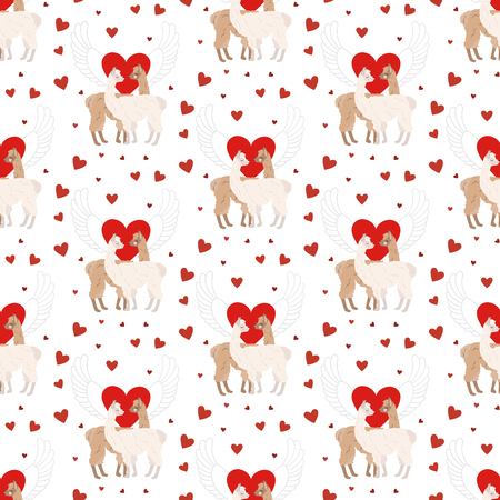 Llama in love seamless pattern on the white background. Vector illustration