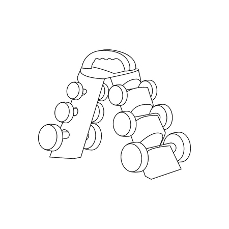 Dumbbells on a stand outline on the white background. Vector illustration