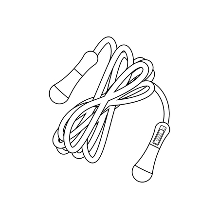 Jump rope with counter outline on the white background. Vector illustration Ilustrace