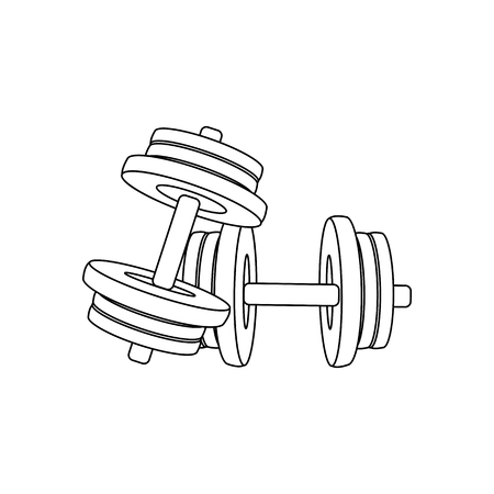 Typesetting dumbbells outline on the white background. Vector illustration